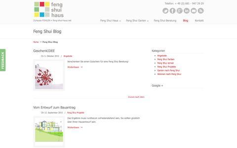 Screenshot of Blog feng-shui-haus.net - Feng Shui - captured June 11, 2016