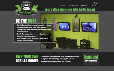 Screenshot of Home Page gorillagames.com - Gorilla Games Video Game Store Opportunity - captured Nov. 13, 2016
