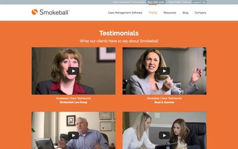 Screenshot of Testimonials Page smokeball.com - Smokeball Reviews - Legal Software for Small Law Firms - captured April 14, 2016
