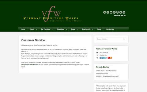 Screenshot of Support Page vtfurnitureworks.com - Customer Service   Vermont Furniture Works - captured Oct. 26, 2014