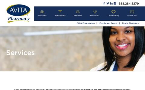 Screenshot of Services Page avitapharmacy.com - Specialty Pharmacy Services - captured Feb. 6, 2016