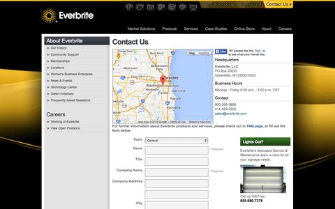 Screenshot of Contact Page everbrite.com - Contact Us - Everbrite - captured Oct. 10, 2014