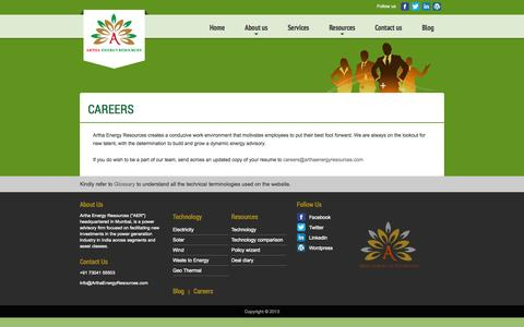 Screenshot of Jobs Page arthaenergyresources.com - Artha Energy Resources - captured Sept. 30, 2014