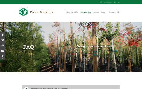 Screenshot of FAQ Page pacificnurseries.com - FAQ | Pacific Nurseries - captured July 15, 2018