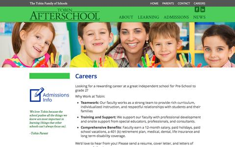 Screenshot of Jobs Page tobinafterschool.org - Careers - Tobin Afterschool - captured Aug. 16, 2016
