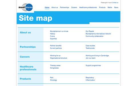 Screenshot of Site Map Page mundipharma.com - Sitemap - captured Oct. 30, 2014