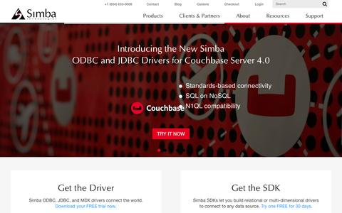 Screenshot of Home Page simba.com - Data Access Connectivity and Analytics Solutions | Simba Technologies - captured Oct. 7, 2015