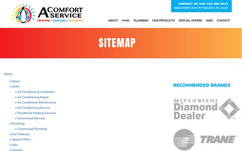 Screenshot of Site Map Page acomfortservice.com - Sitemap - A-Comfort Service - captured Dec. 16, 2018