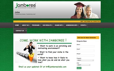 Screenshot of Jobs Page jamboreeindia.com - GRE®| GMAT™| SAT®|TOEFL® and IELTS Preparation| University Admissions Counseling - captured Sept. 24, 2014