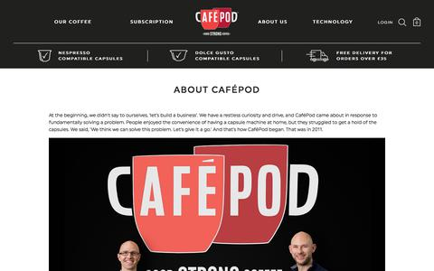 Screenshot of About Page cafepod.com - About CaféPod - captured July 11, 2017