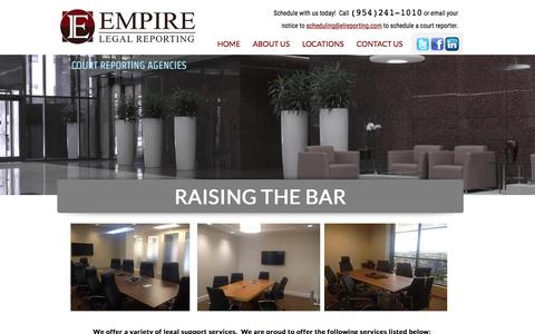Screenshot of Home Page elreporting.com - Empire Legal Reporting in Fort Lauderdale, Fl - captured June 18, 2015