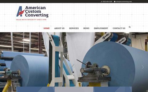 Screenshot of Home Page acconverting.com - Home - American Custom Converting - captured Nov. 20, 2016