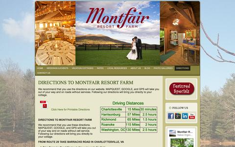 Screenshot of Maps & Directions Page montfairresortfarm.com - Directions to Montfair Resort Farm   Montfair Resort Farm, Charlottesville, VA - captured Oct. 1, 2014