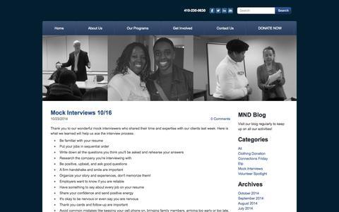 Screenshot of Blog mdnewdirections.org - MND Baltimore - Blog - captured Oct. 27, 2014
