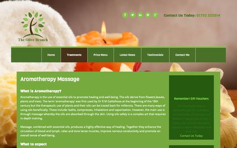 Screenshot of Services Page helenkremer.co.uk - Aromatherapy Massage in Plymouth by The Olive Branch - captured Sept. 28, 2018