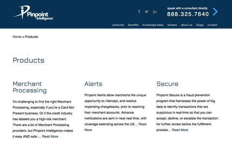 Screenshot of Products Page pinpointintel.com - Products - Pinpoint Intelligence - captured Aug. 2, 2017