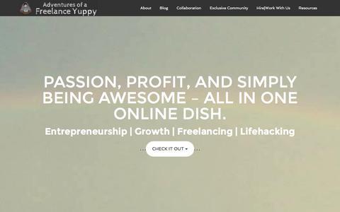 Screenshot of Home Page adventuresofafreelanceyuppy.com - Creating Inspiring Stories - Adventures of a Freelance Yuppy - captured Dec. 24, 2015