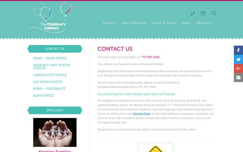 Screenshot of Contact Page childrenscabinet.org - Contact Us - Children's Cabinet - captured Oct. 20, 2018