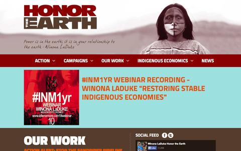 Screenshot of Home Page honorearth.org - Honor The Earth - captured Oct. 3, 2014