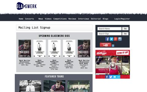 Screenshot of Signup Page glasswerk.co.uk - Magazine Homepage - Glasswerk.co.uk - captured Dec. 9, 2015