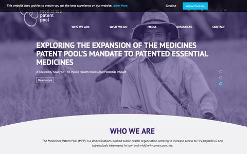 Screenshot of Home Page medicinespatentpool.org - MPP – Medicines Patent Pool - captured Sept. 20, 2018