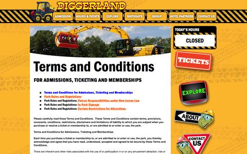 Screenshot of Terms Page diggerlandusa.com - Terms and Conditions - Diggerland USA - captured Sept. 19, 2014