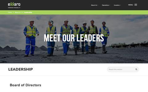 Screenshot of Team Page exxaro.com - Meet Our Leaders   Exxaro - captured Nov. 11, 2018