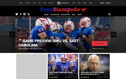 Screenshot of scout.com - SMU Mustangs Football, Basketball, and Recruiting Front Page - captured Oct. 3, 2015