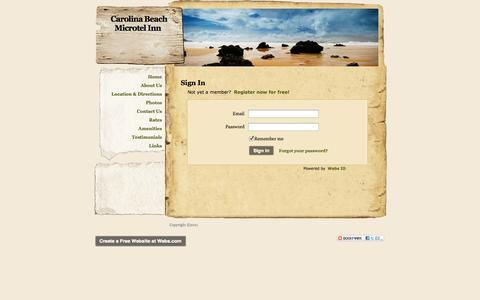 Screenshot of Login Page webs.com - Login - Carolina Beach Microtel Inn - captured Oct. 27, 2014