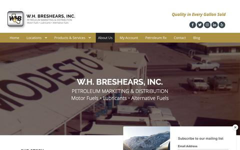 Screenshot of About Page whbreshears.com - W.H. Breshears, Inc. • Petroleum Marketing & Distribution - captured Oct. 18, 2018