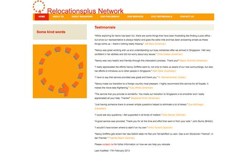 Screenshot of Testimonials Page relocationsplus.com - Testimonials - captured Oct. 7, 2014