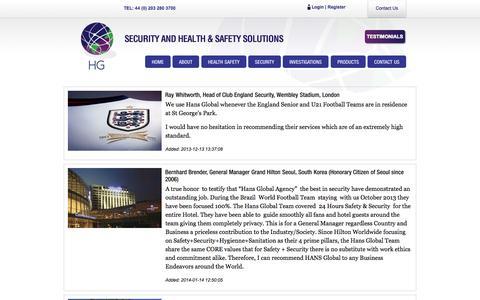 Screenshot of Testimonials Page hansglobal.co.uk - Testimonials | Hans Global - captured Oct. 22, 2014