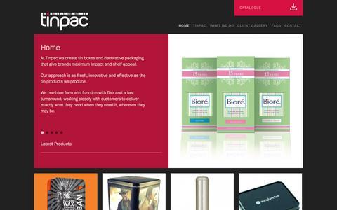 Screenshot of Home Page tinpac.com - TinPac | - captured Oct. 1, 2014