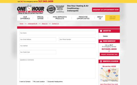Screenshot of Contact Page onehourheatandair.com - Indianapolis   Contact One Hour Heating & Air Conditioning - captured Oct. 12, 2017