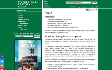 Screenshot of About Page hprweb.com - About - Homiletic & Pastoral Review - captured July 2, 2018