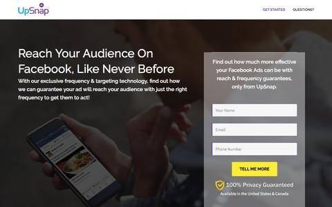 Screenshot of Landing Page upsnap.com - Facebook GotU | UpSnap Mobile Advertising - captured April 27, 2017