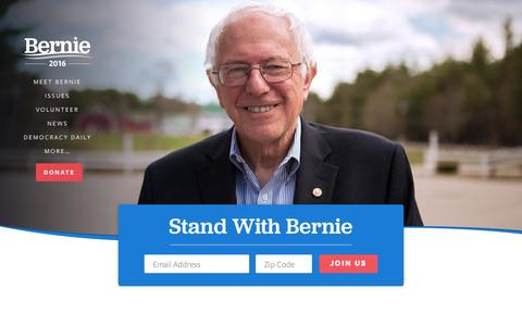 Screenshot of Home Page berniesanders.com - Bernie Sanders - captured Aug. 6, 2015