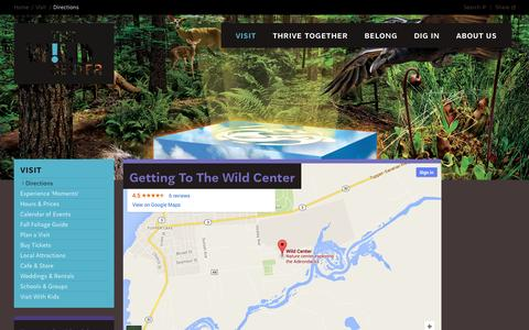 Screenshot of Maps & Directions Page wildcenter.org - Directions | Wild Center - captured Oct. 7, 2014