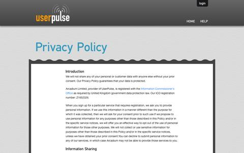Screenshot of Privacy Page userpulse.com - Live Chat Software with Lead Qualification, Contact Form, Feedback Tool - captured Oct. 26, 2014