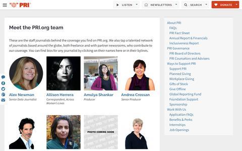 Screenshot of Team Page pri.org - Meet the PRI.org team | Public Radio International - captured Sept. 22, 2018