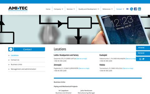 Screenshot of Locations Page amitec.fi - Locations - Amitec Oy - captured Oct. 3, 2018