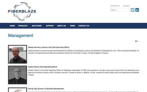 Screenshot of Team Page fiberblaze.com - Fiberblaze - Management - captured Nov. 3, 2014