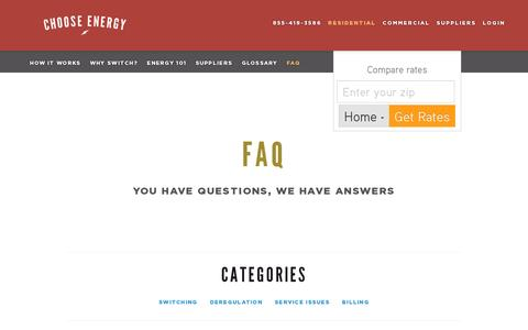 Screenshot of FAQ Page chooseenergy.com - FAQ  | Choose Energy - captured July 19, 2014