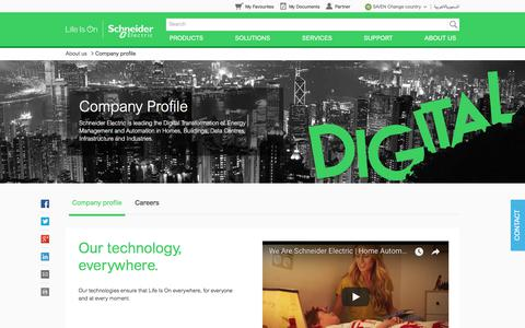 Screenshot of About Page schneider-electric.com.sa - Company profile | Schneider Electric - captured July 5, 2018