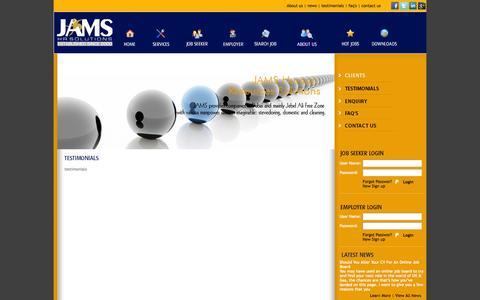 Screenshot of Testimonials Page jamsfze.com - JAMS HR Solutions - captured Oct. 8, 2014