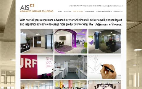 Screenshot of Case Studies Page officerefurbishment.co.uk - Advanced Office Interiors | Case Studies | Advanced Interior Solutions - captured Oct. 4, 2014