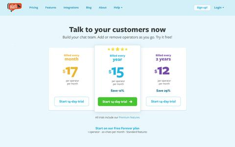 Screenshot of Pricing Page olark.com - Olark | Beautiful live chat software pricing for sales and support | Pricing - captured Feb. 1, 2017