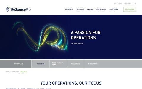 Screenshot of About Page resourcepro.com - Insurance Outsourcing Services & Operations Solutions Company - captured Nov. 8, 2019