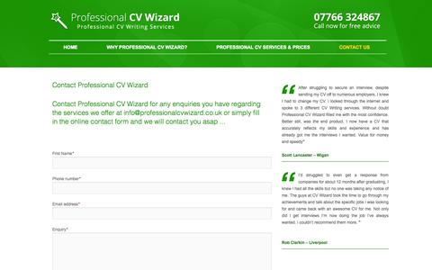 Screenshot of Contact Page professionalcvwizard.co.uk - Professional CV Writing Services | Curriculum Vitae Service UK - captured Sept. 30, 2014