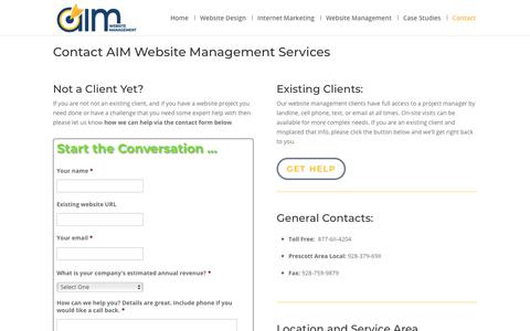 Screenshot of Contact Page aimaz.com - AIM Website Management Contacts . Request a Quote or Support - captured Oct. 2, 2018